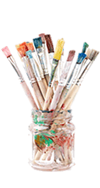 a pot of paint brushes