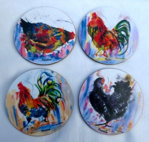 A set of four Malamine coasters