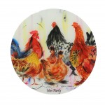 Hen Party glass platter